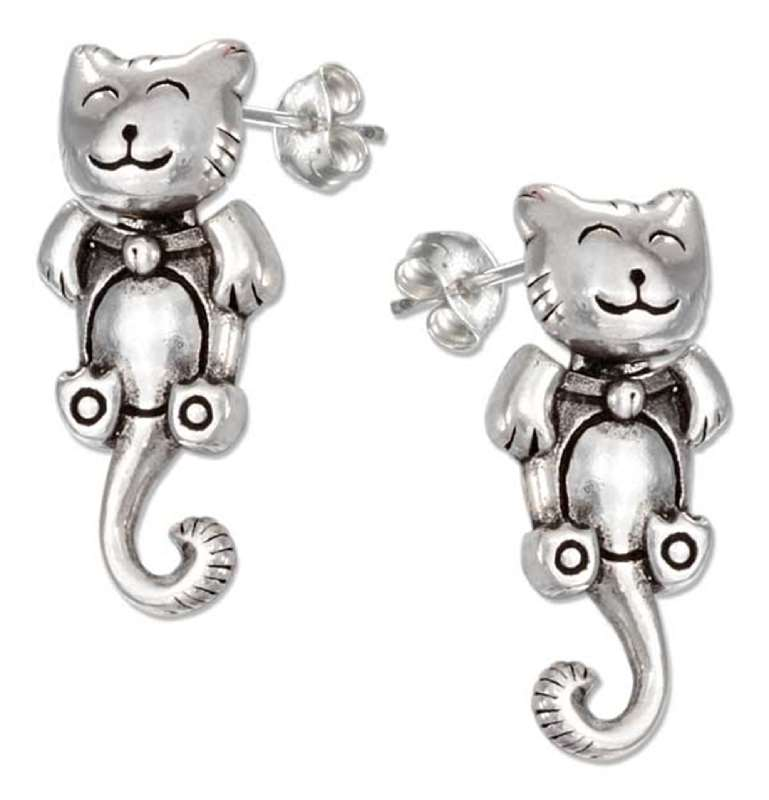 Moveable Happy Cat Post Earrings