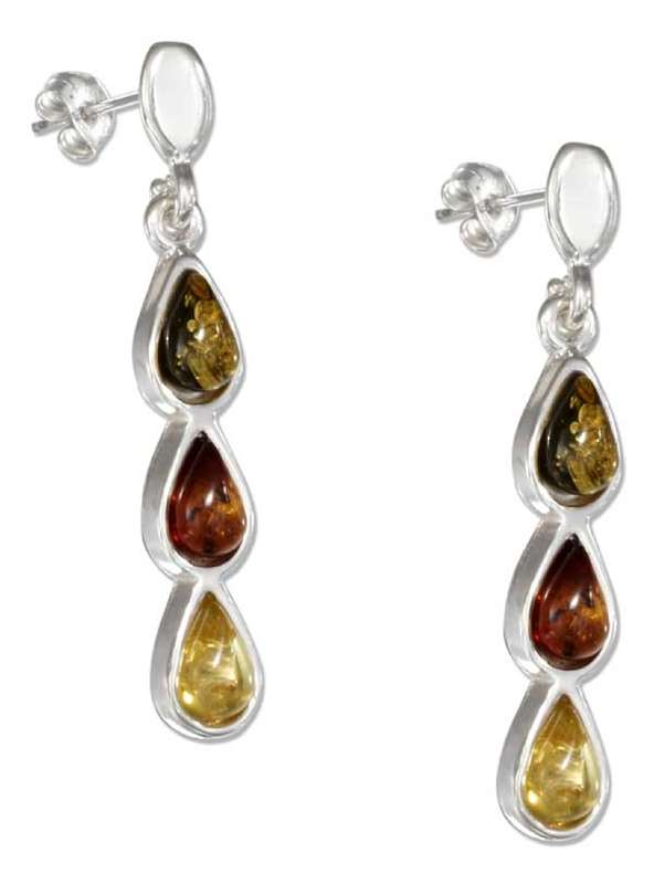 Amber Teardrop Post Dangle Earrings