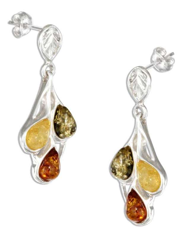 Amber Earrings on Multicolored Amber Teardrop Post Dangle Earrings  Amber Earrings