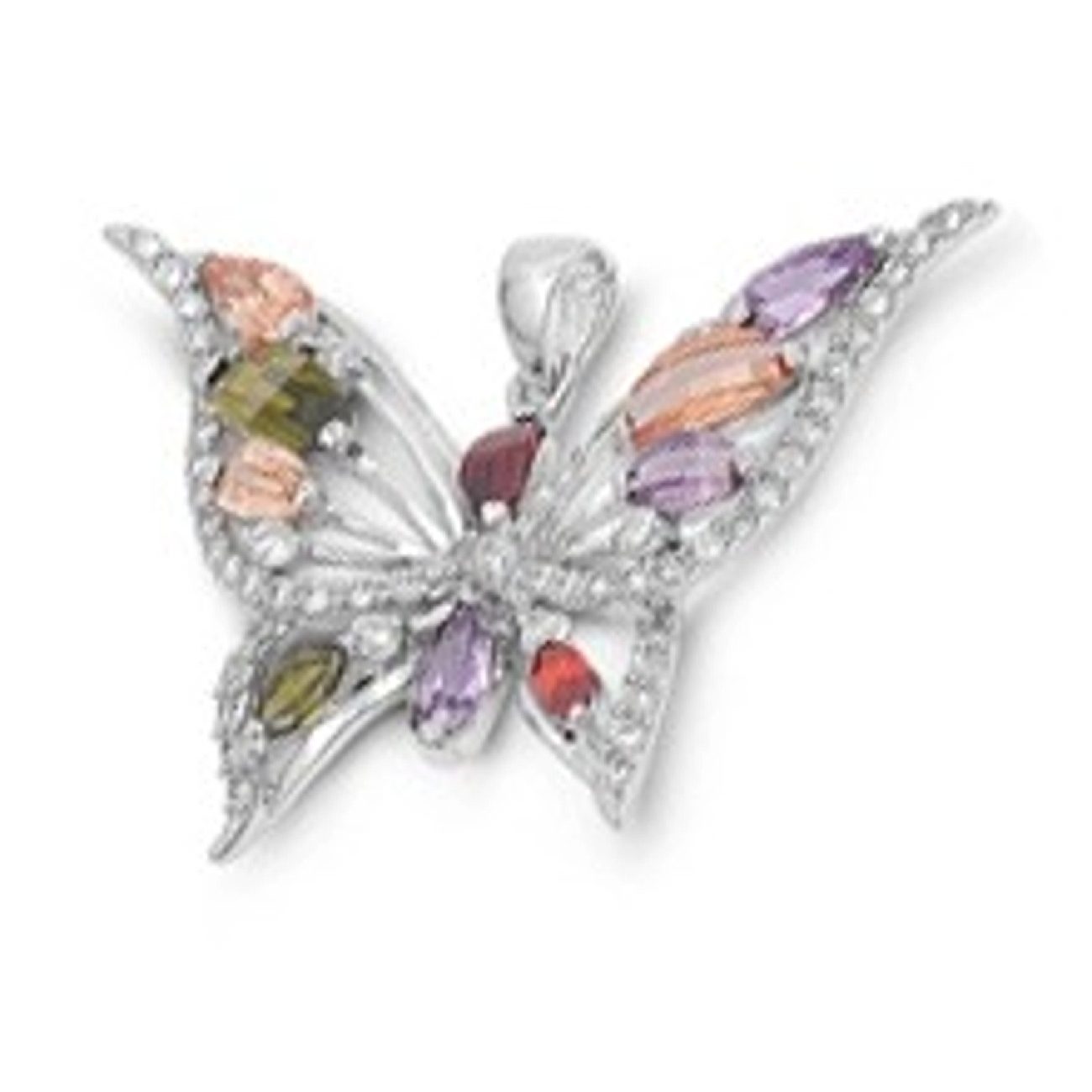 Multicolored Cubic Zirconia Large Butterfly Pendant