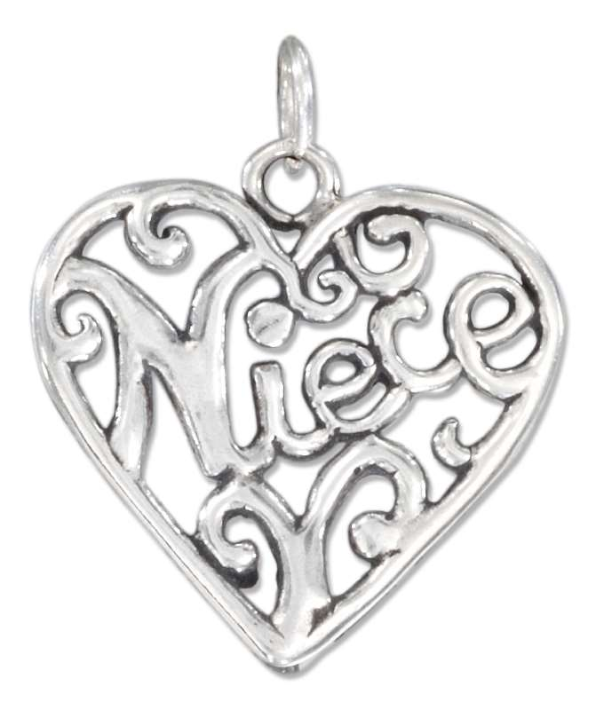 """NIECE"" Open Filigree Heart Charm"