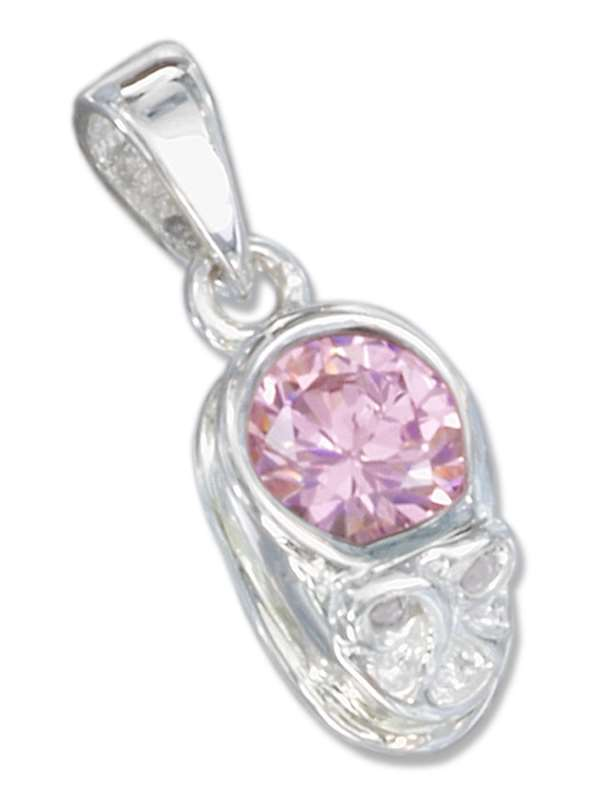 Small October Birthstone Baby Shoe Pendant