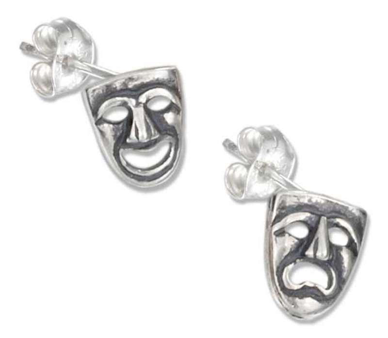 Comedy Tragedy Drama Masks Post Earrings