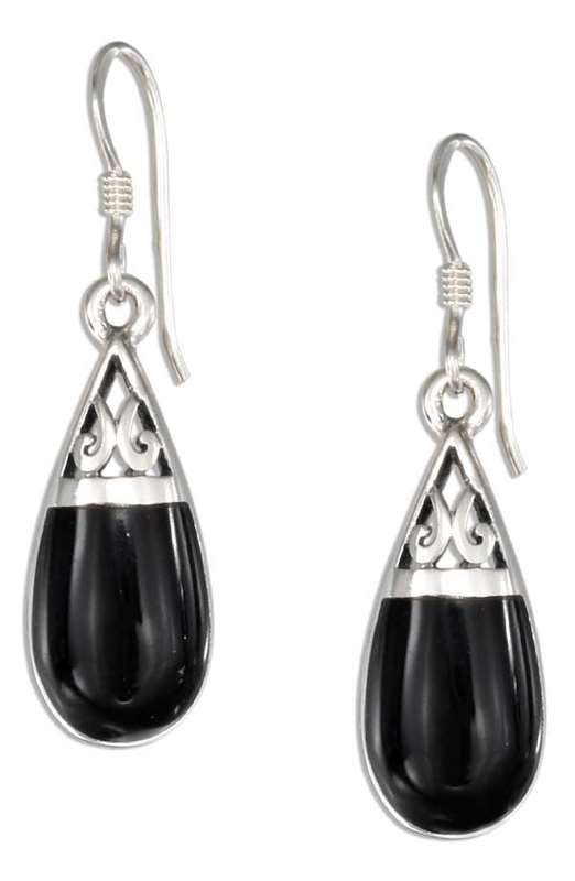 Black Onyx Teardrop Filigree Design Earrings