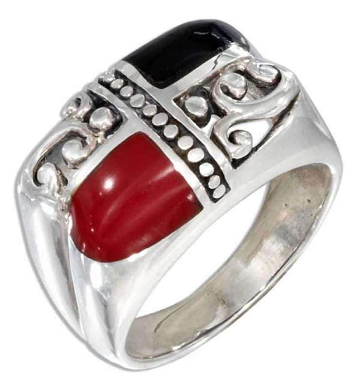 Black Onyx Red Stone Opposing Scrolled Dome Setting Ring
