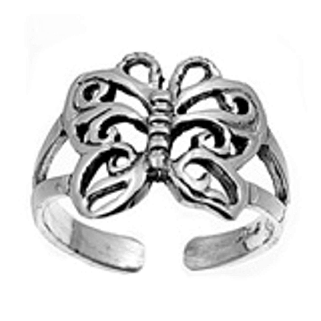 Open Butterfly On Split Shank Adjustable Toe Ring