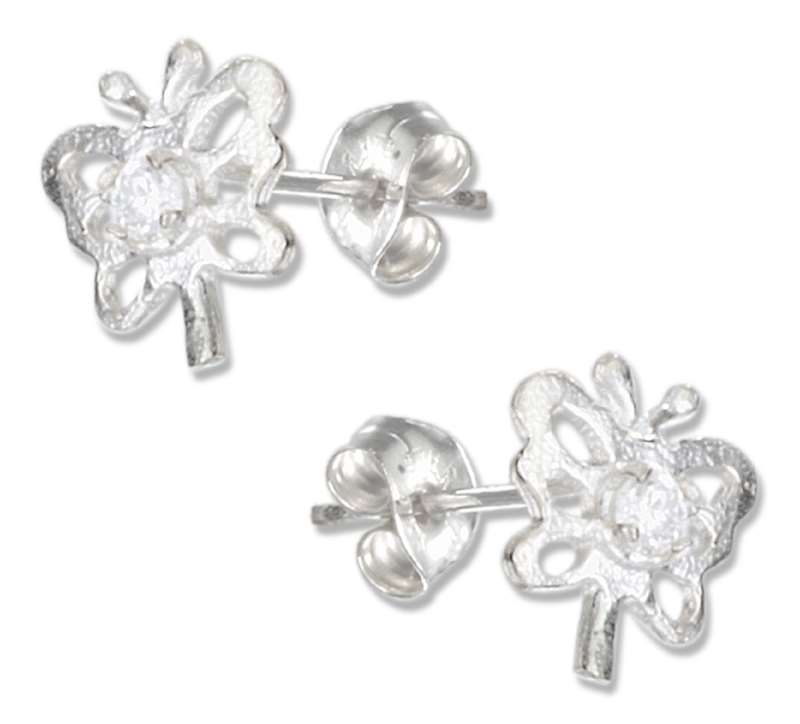 Open Butterfly Cubic Zirconia Post Earrings