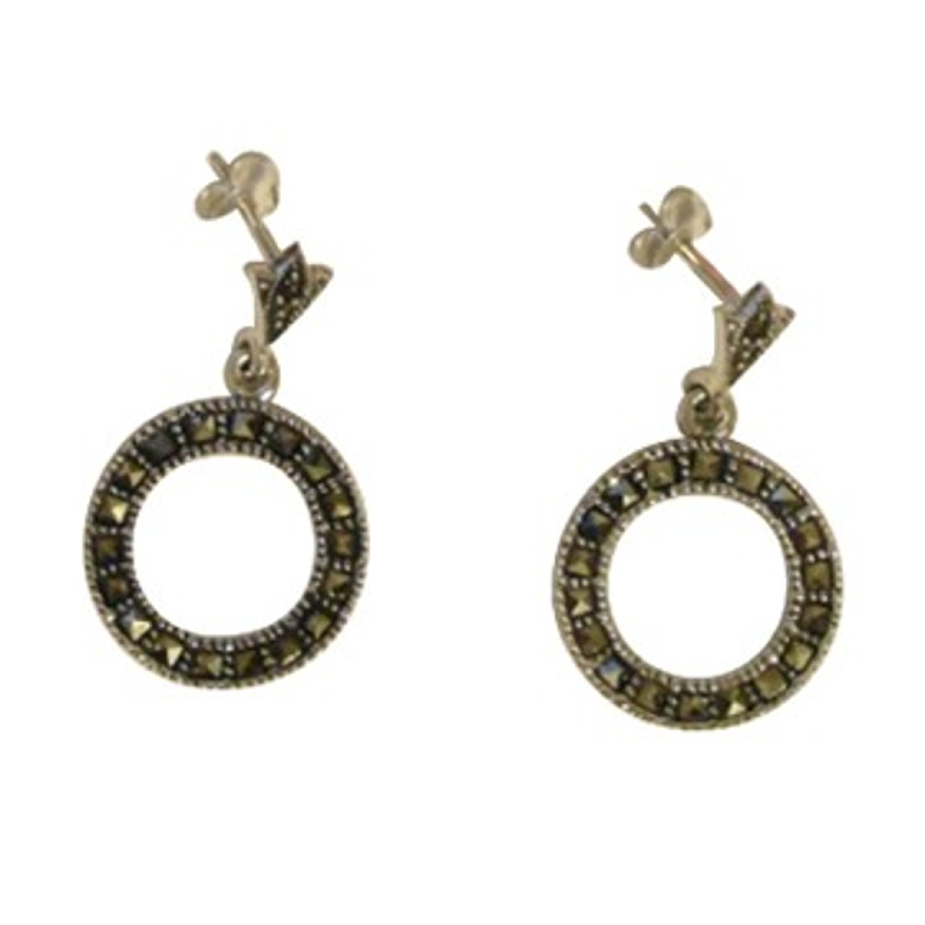 Open Circle Marcasite Post Dangle Earrings