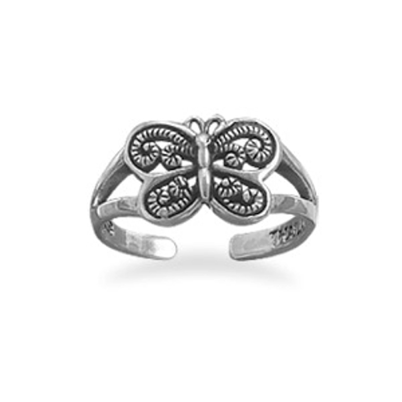 Open Cut Butterfly Adjustable Toe Ring
