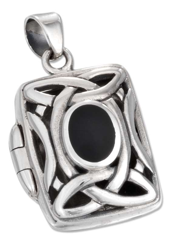 Celtic Locket Pendant Black Onyx