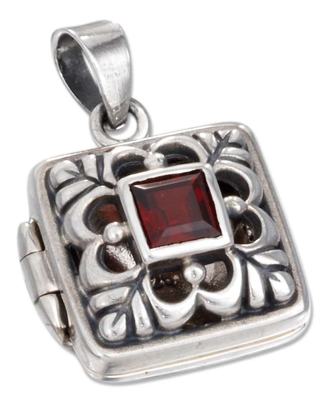 Open Filigree Square Locket Pendant Garnet