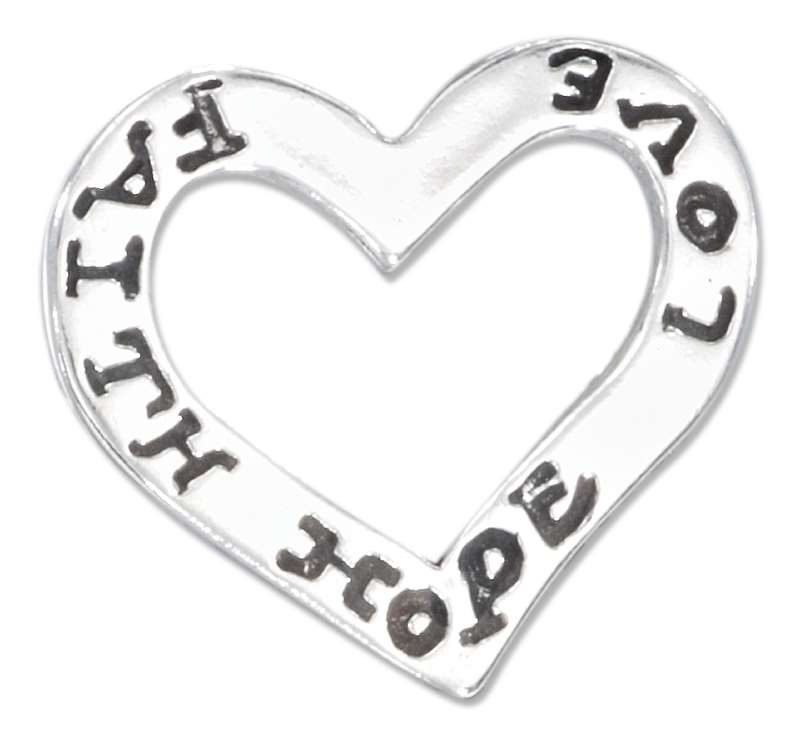 """LOVE"" ""HOPE"" ""FAITH"" Slide Pendant"