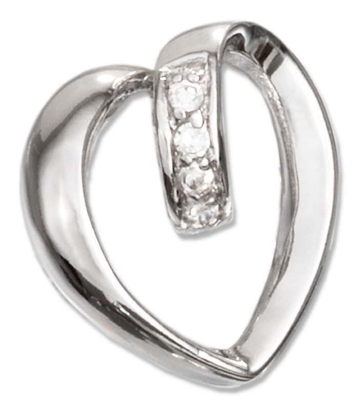 Open Looped Cubic Zirconia Heart Slide Pendant