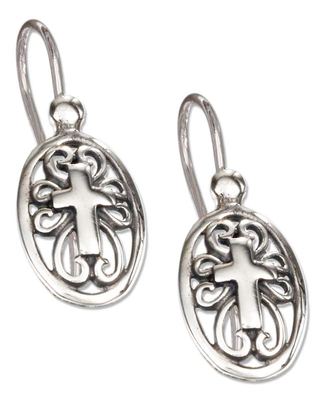 Open Christian Religious Cross Filigree Wire Earrings
