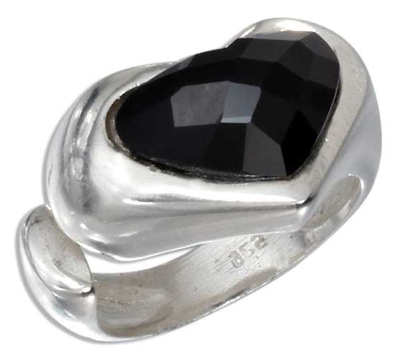 Open Shank Ring Heart Shaped Faceted Black Onyx Stone