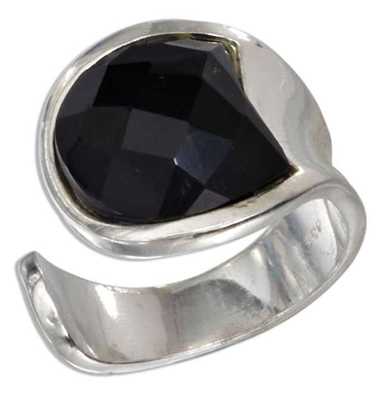 Open Shank Ring Faceted Black Onyx Stone