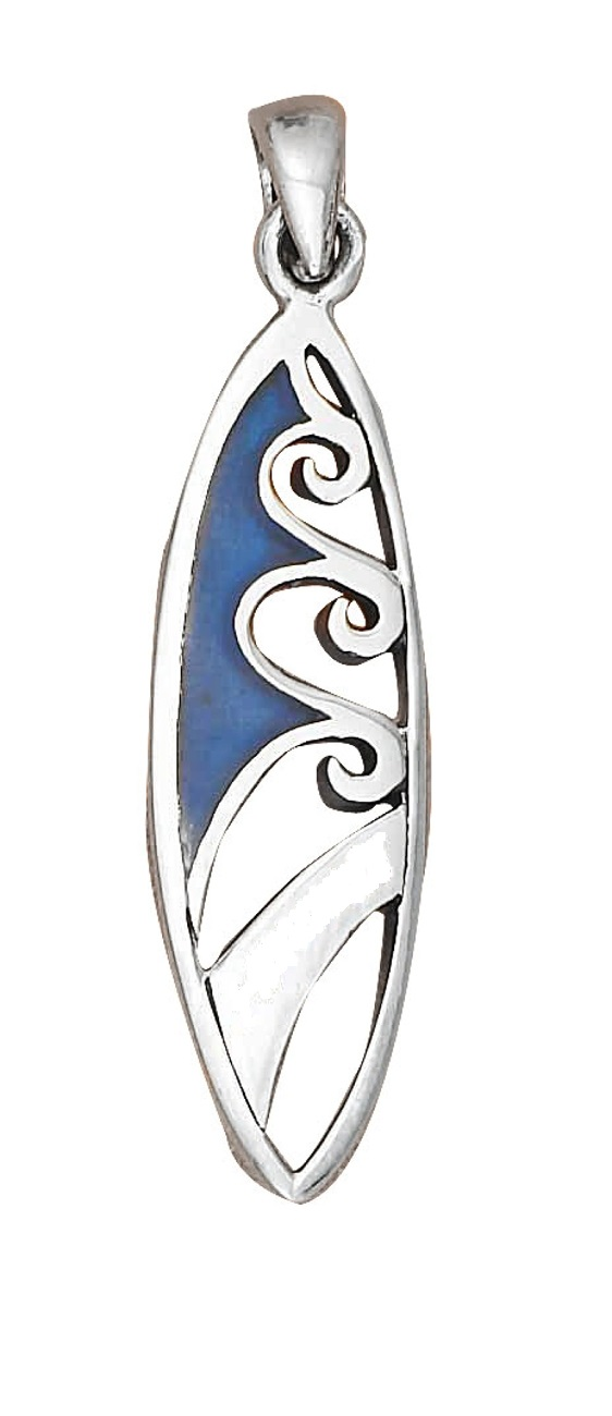 Surfboard Pendant With Blue Paua Shell Inlay
