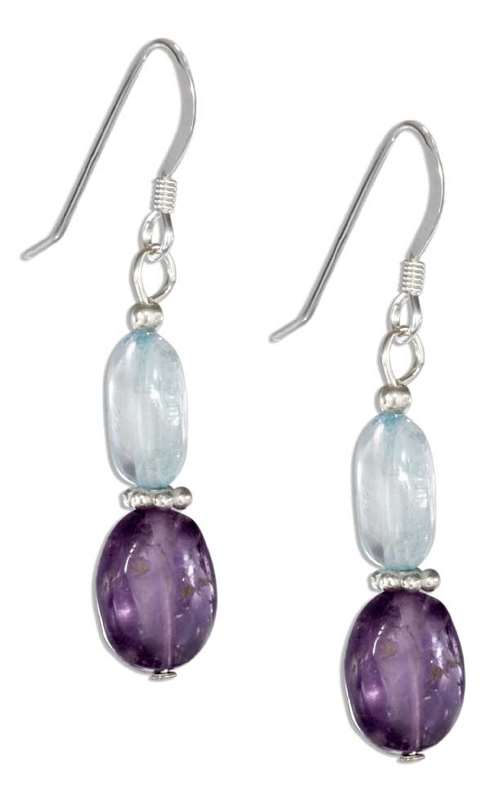 Amethyst Blue Topaz Dangle Earrings