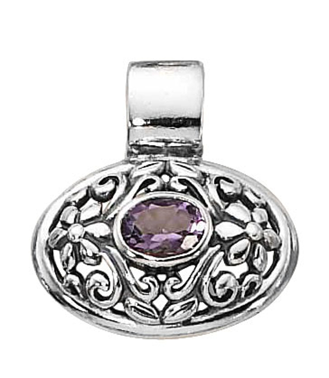 Amethyst Stone Side Oval Slide Pendant With Flowers