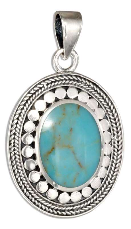 Dotted Roped Framed Turquoise Pendant