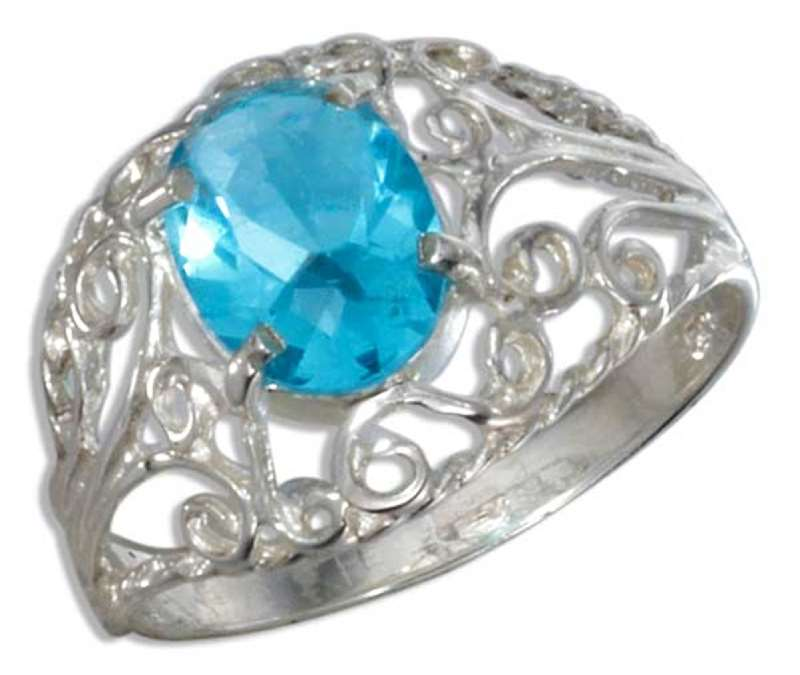 Filigree Solitaire Oval Blue Topaz Ring