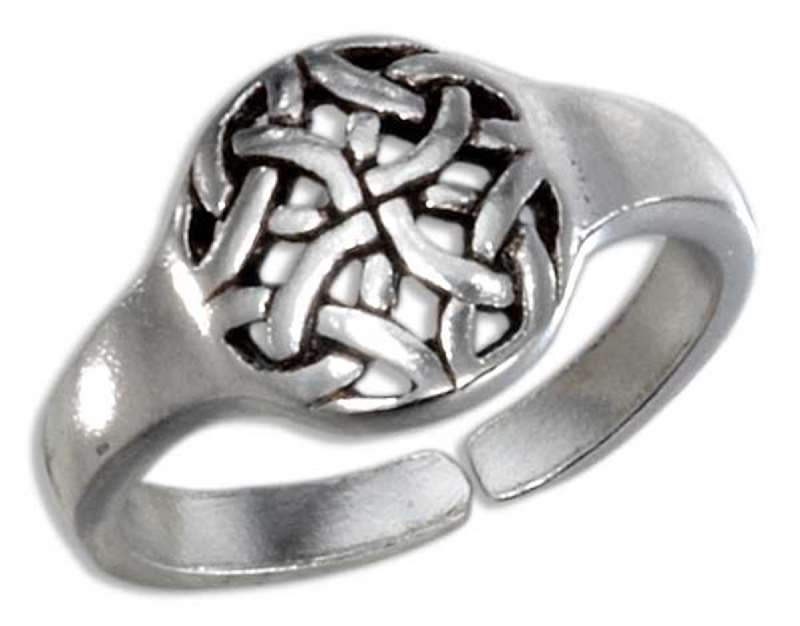 Sterling Silver Men's Celtic Knot Adjustable Toe Ring