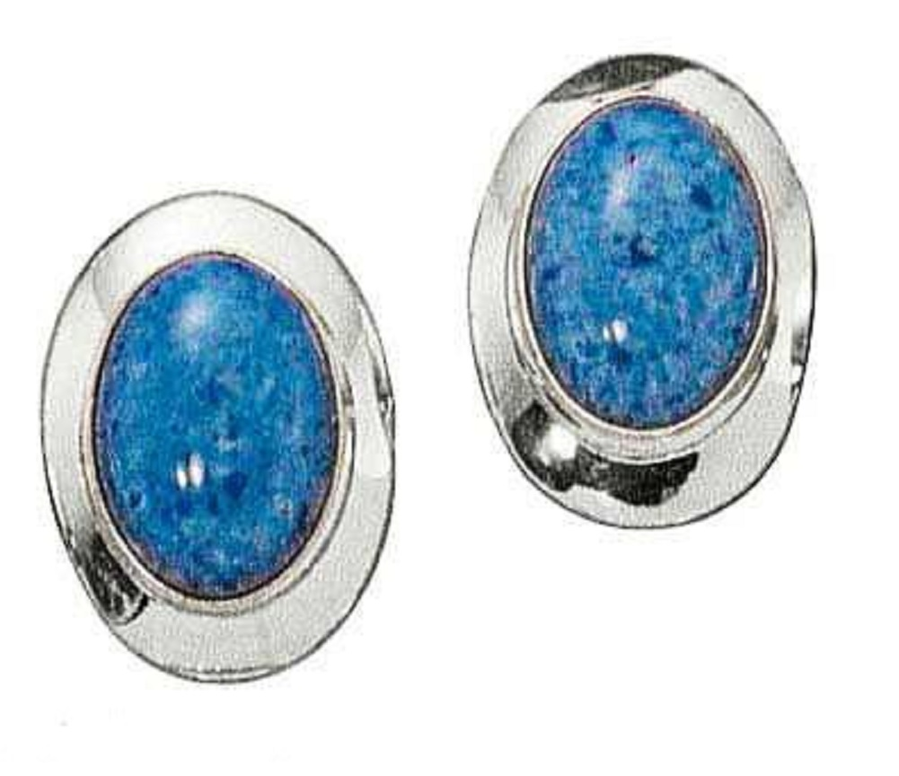 Denim Lapis Oval Earrings