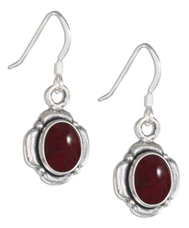 Garnet Petal Border Dangle Earrings