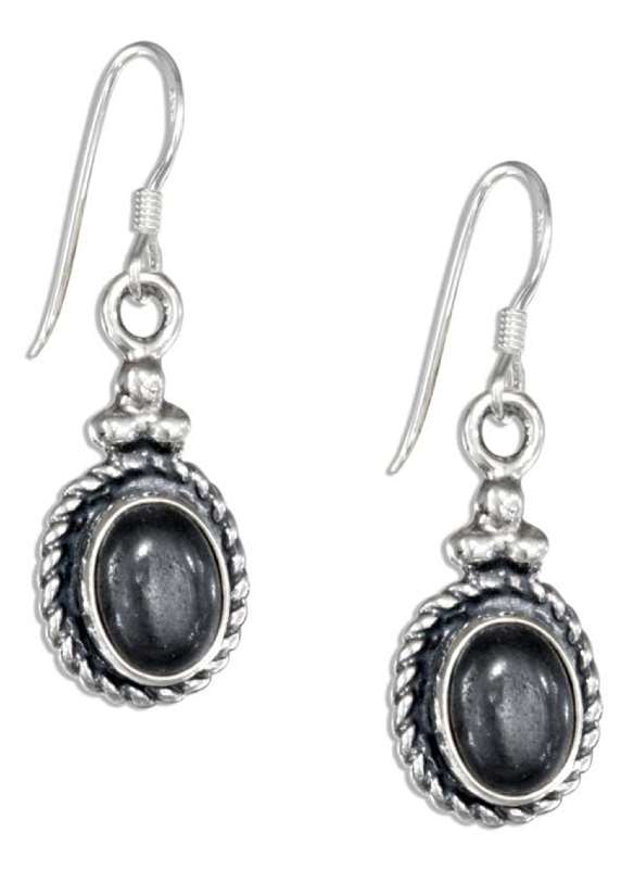 Hematite Concho Three Dots Dangle Earrings