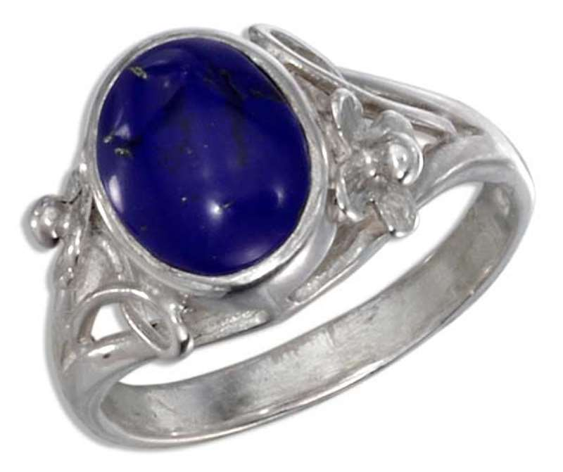 Lapis Ring Flower Scrolled Split Shank