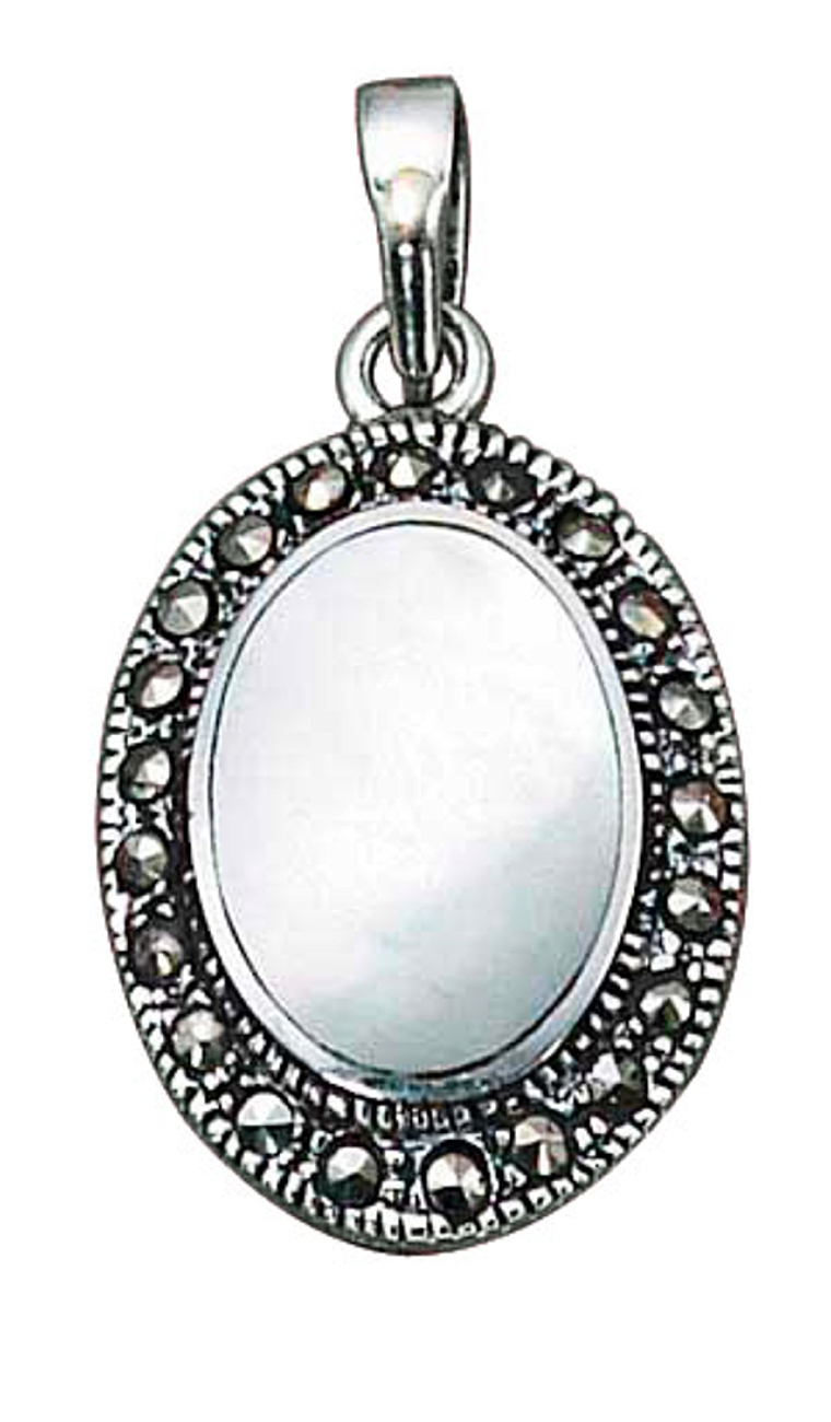 Mother Of Pearl Pendant Marcasite Border