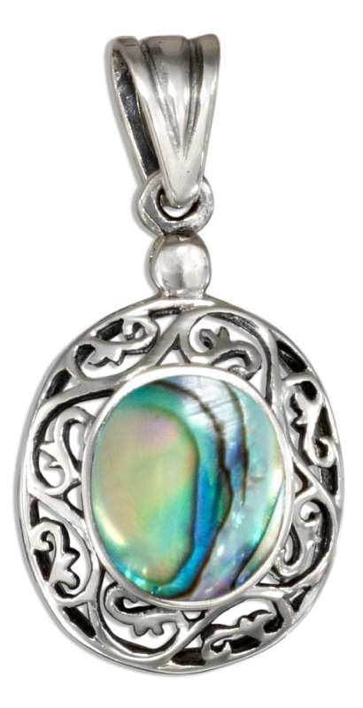 Sterling Silver Abalone Paua Shell Pendant Aunties Treasures Your