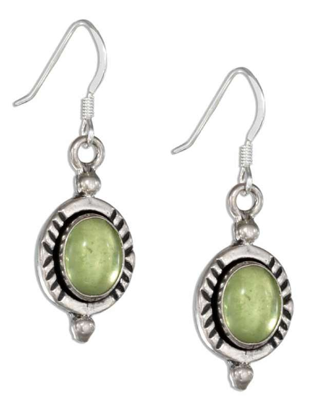Peridot Hatched Border Dangle Earrings