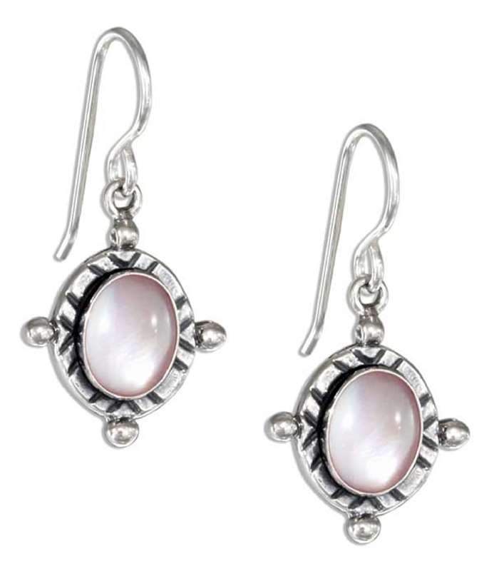 Pink Mother of Pearl Dangle Earrings