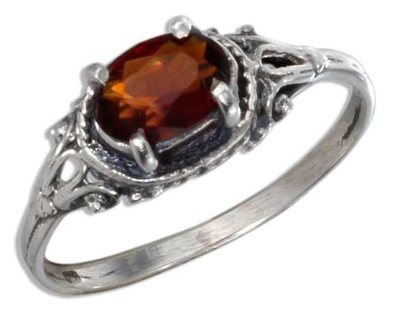 Solitaire Oval Garnet Ring
