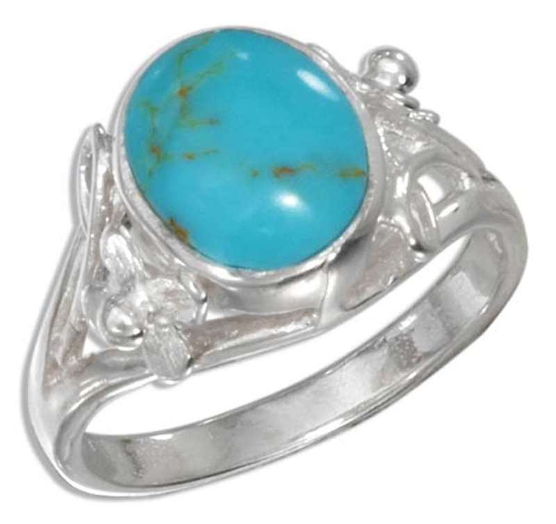 Turquoise Ring Flower Scrolled Split Shank