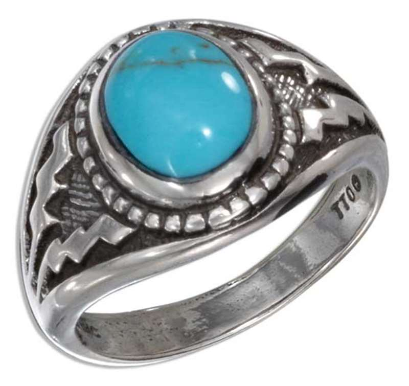 Men's Turquoise Aztec Design Ring