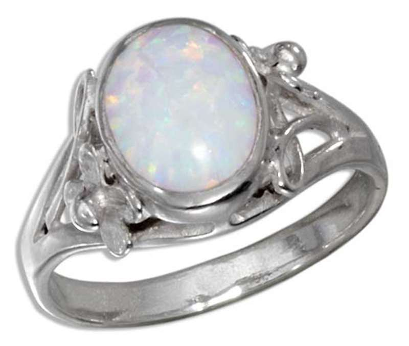 Oval White Imitation Opal Ring