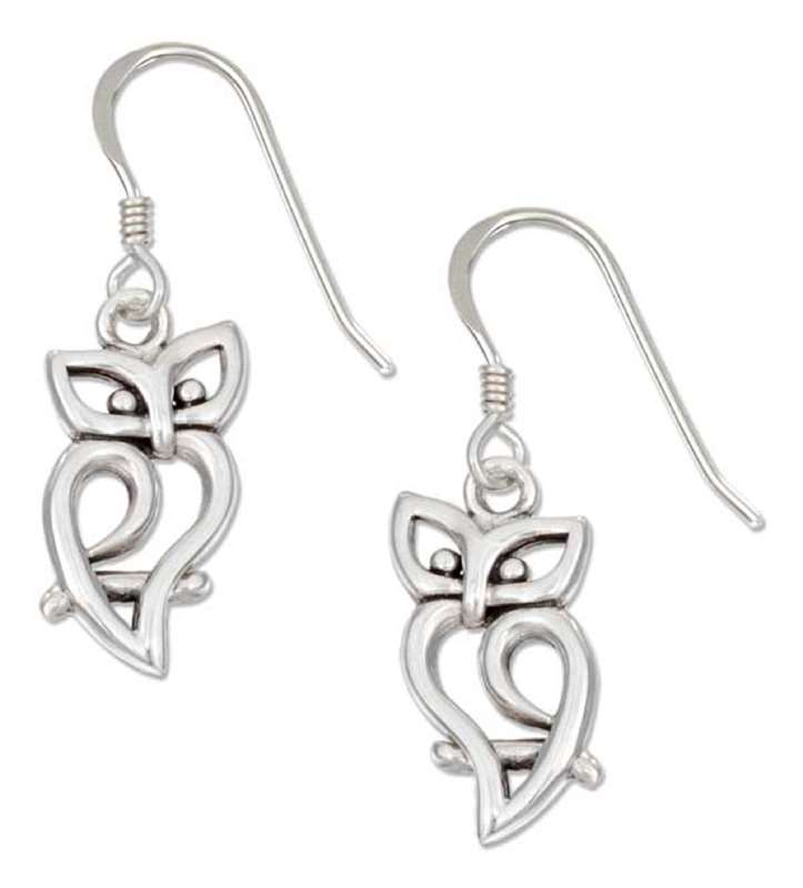 sterling silver owl silhouette dangling earrings on french wires   auntie u0026 39 s treasures  online