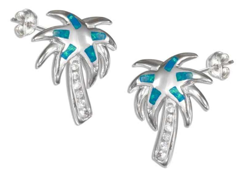 Palm Tree Post Earrings Pave Trunk Imitation Blue Opal Inlay