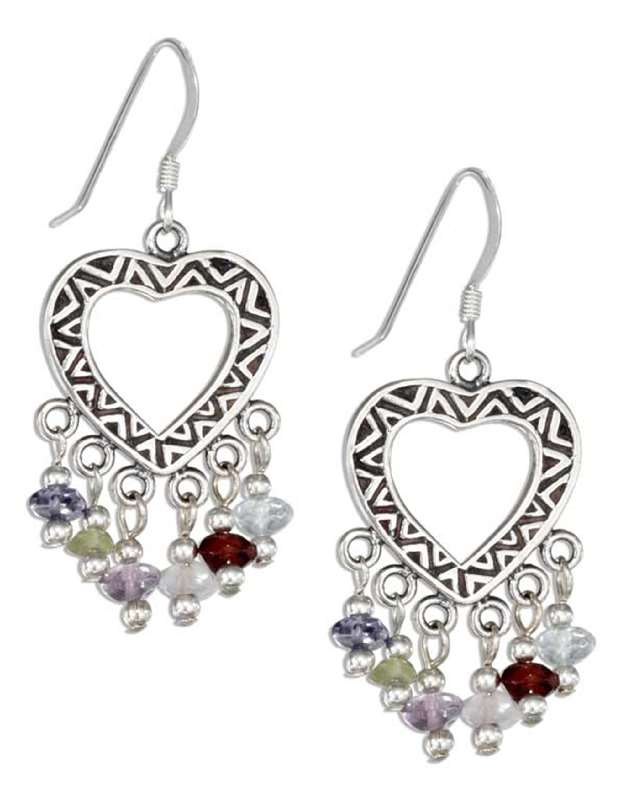 Patterned Open Heart Short Dangling Stones Dangle Earrings