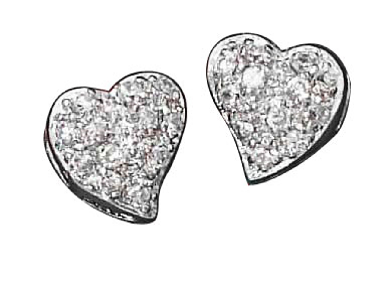 Pave Cubic Zirconia Contemporary Heart Post Earrings