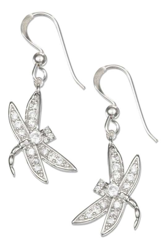 Pave Cubic Zirconia Dragonfly Dangle Earrings
