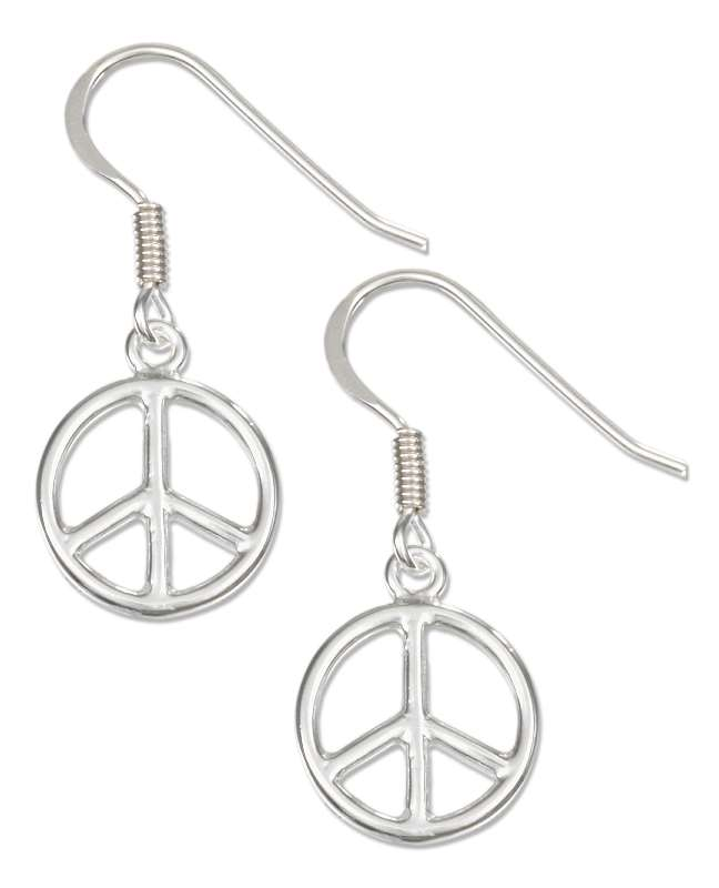 Peace Symbol Sign Dangle Earrings