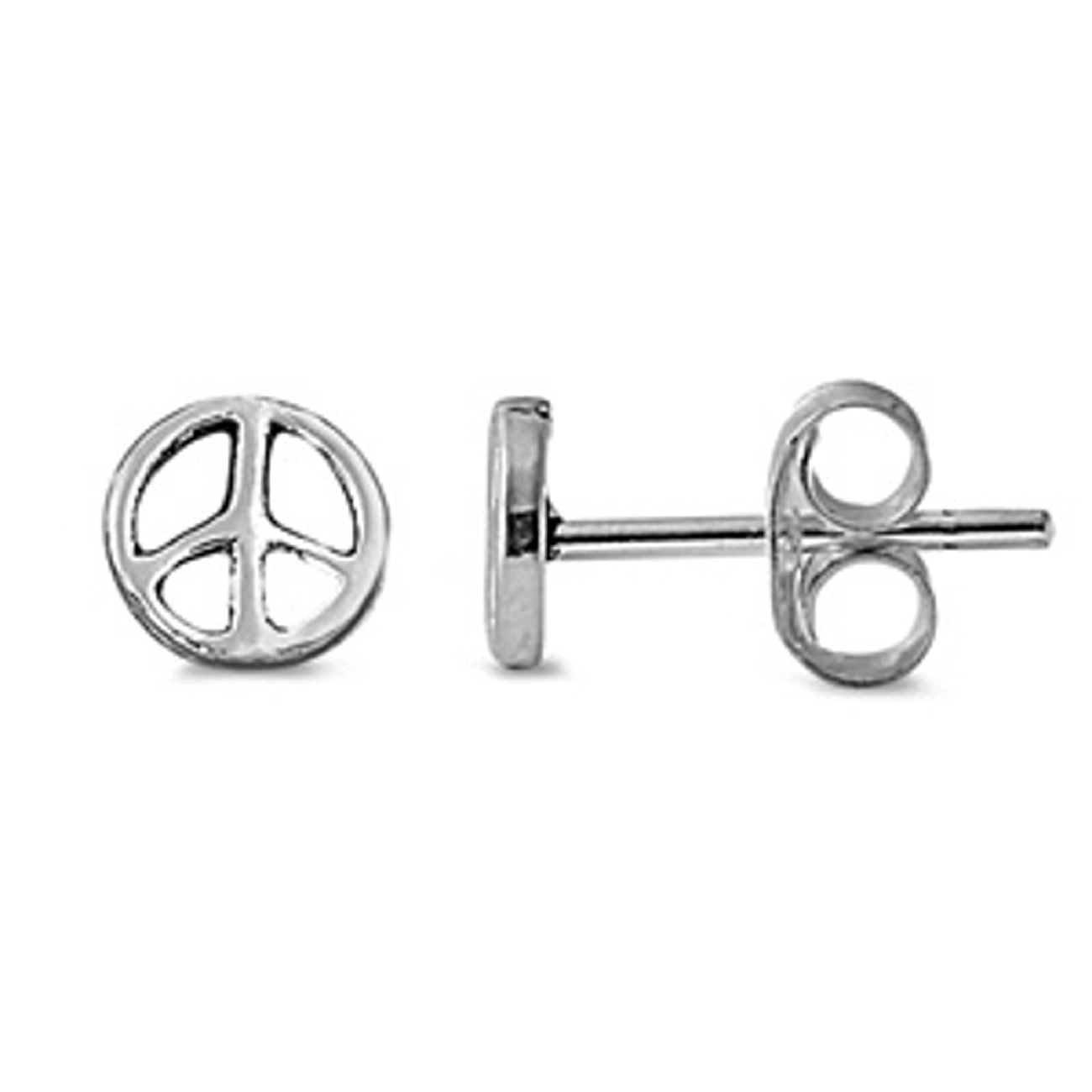 Small Peace Sign Symbol Stud Post Earrings