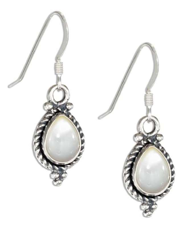 Pear White Mother Of Pearl Roped Edge Dangle Earrings