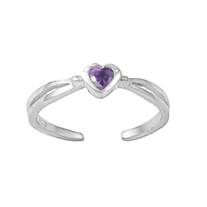 Dainty Purple Amethyst Cubic Zirconia Heart Adjustable Toe Ring