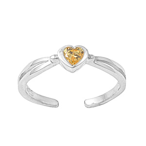 Dainty Yellow Citrine Cubic Zirconia Heart Adjustable Toe Ring