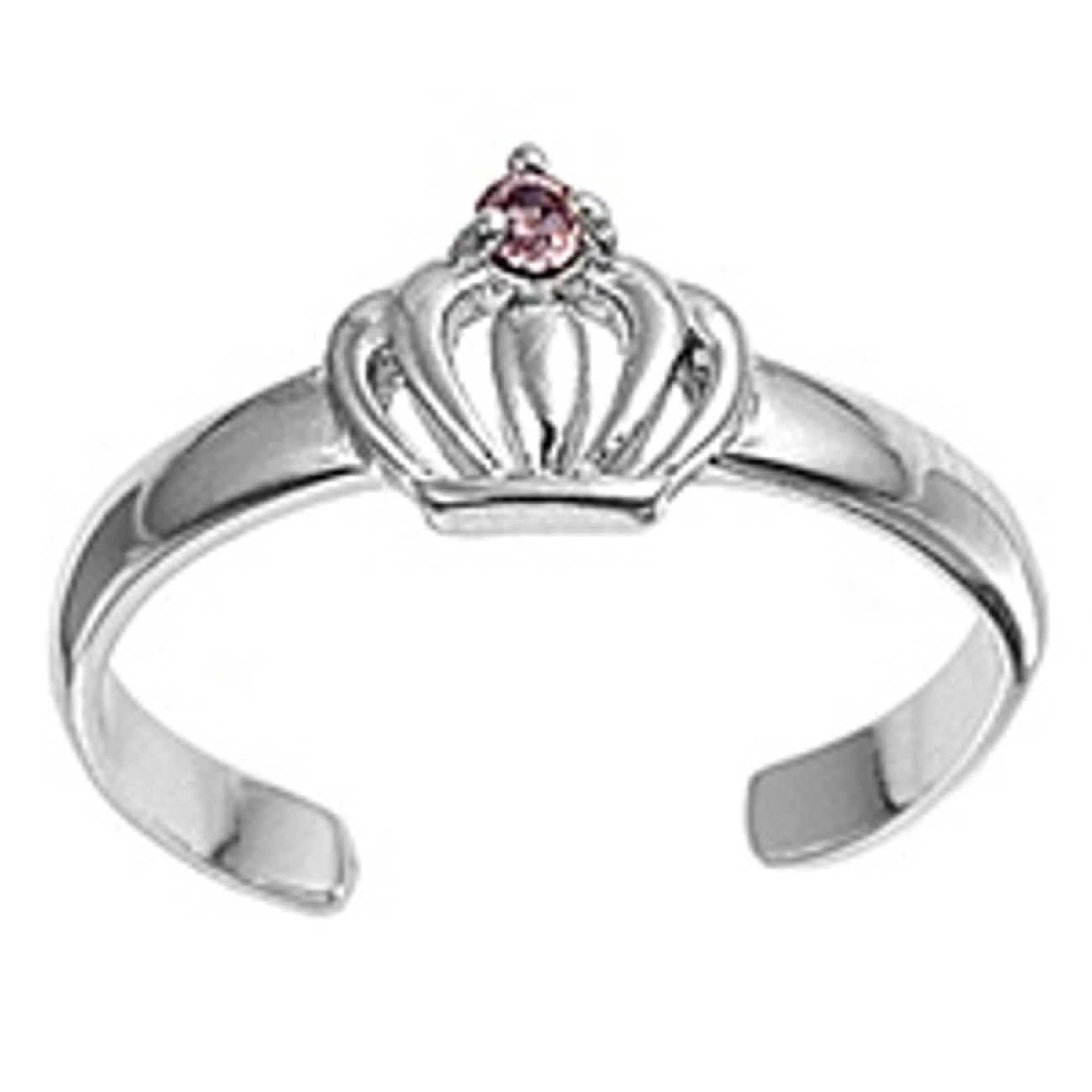 Pink Cubic Zirconia Crown Adjustable Toe Ring