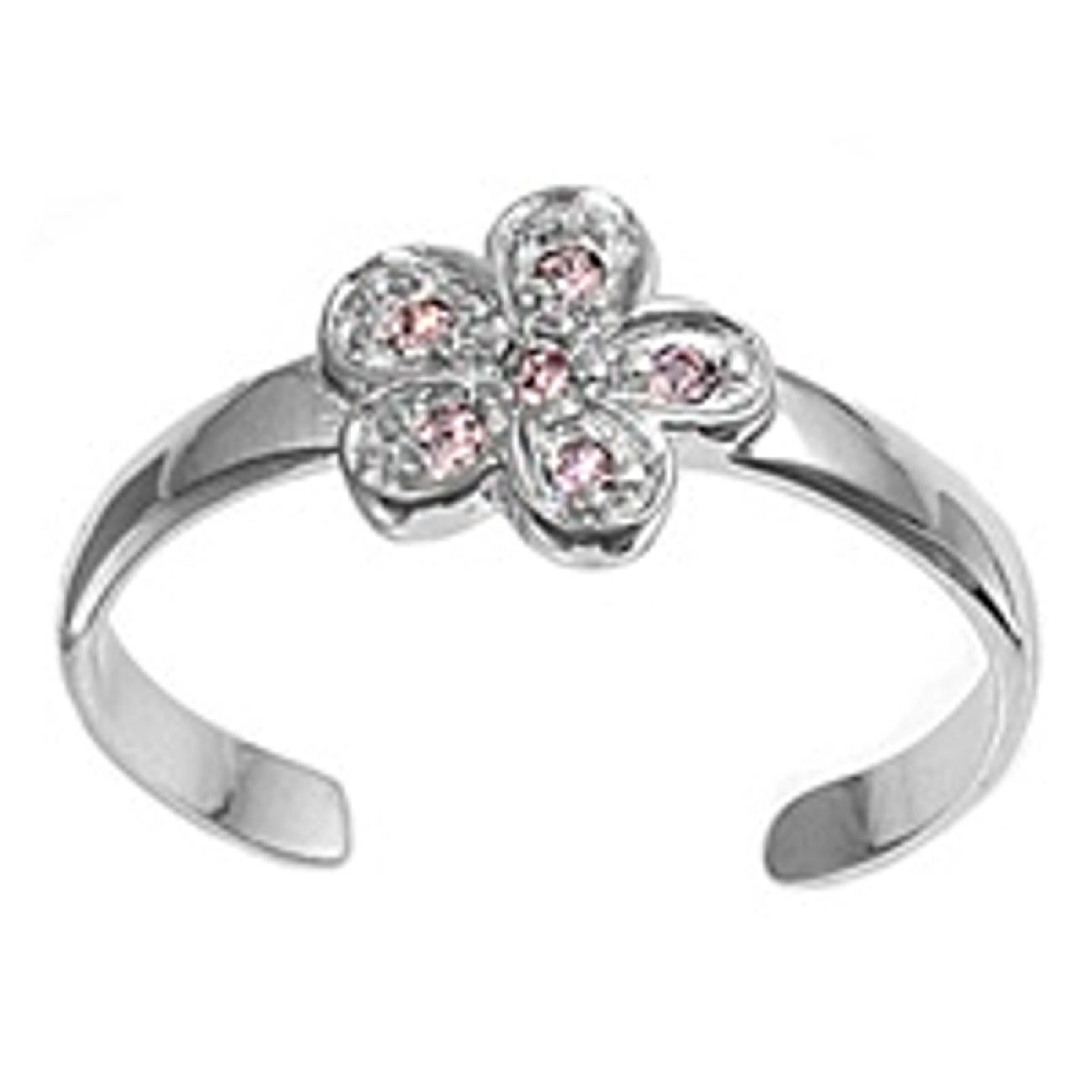 Pink Cubic Zirconia Five Wide Petal Flower Adjustable Toe Ring